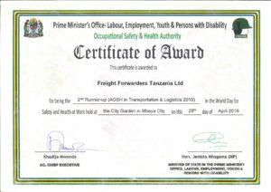 Occupational Safety and Health Authority - Certificate of Award