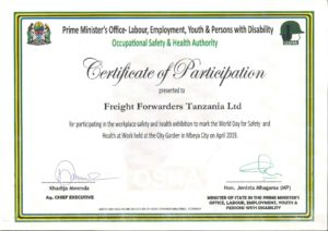 Occupational Safety and Health Authority - Certificate of Participation