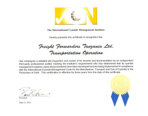 International Cyanide Management Institute (ICMI) Certificate