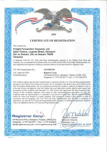 US FDA Certificate of Registration