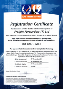 Freight Forwarders Tanzania IS0 9001:2015 Certification